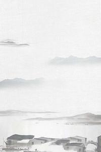 中国风水墨画水乡海报背景模板