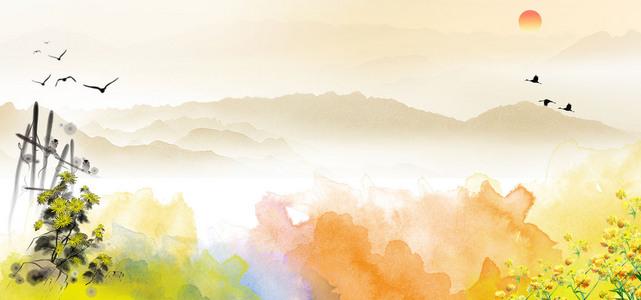 淘宝水墨淡雅重阳节海报背景