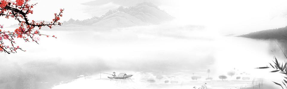 中国风传统文化水墨梅花山水小船背景