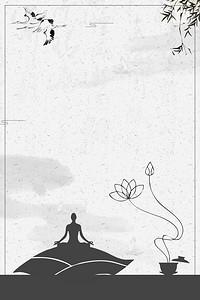 中国风禅意佛学文化海报背景素材
