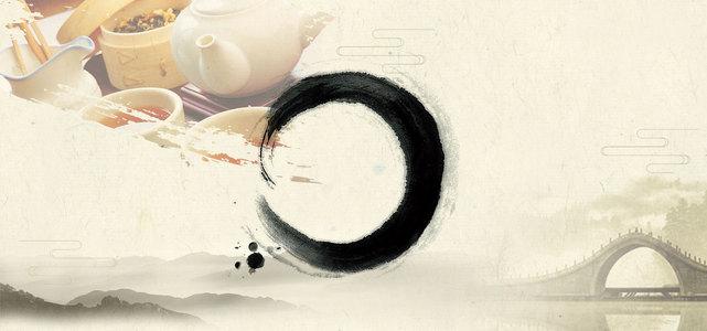 中国风茶文化海报背景
