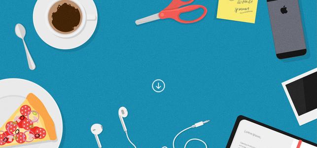 蓝色桌面铺满办公工具