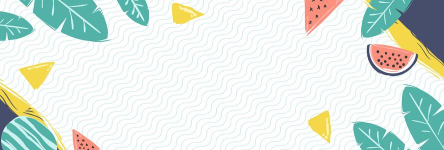 夏日上新清新手绘淘宝海报背景