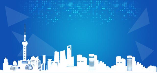 科技几何城市建筑电商海服模板