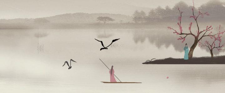 中国风山水画游船背景