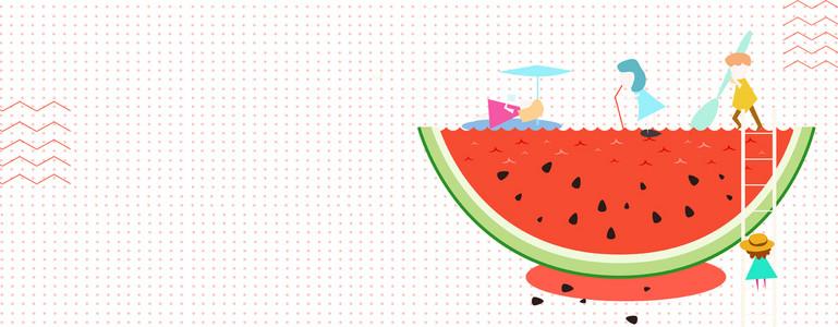 夏日酷爽西瓜卡通纹理几何红色背景