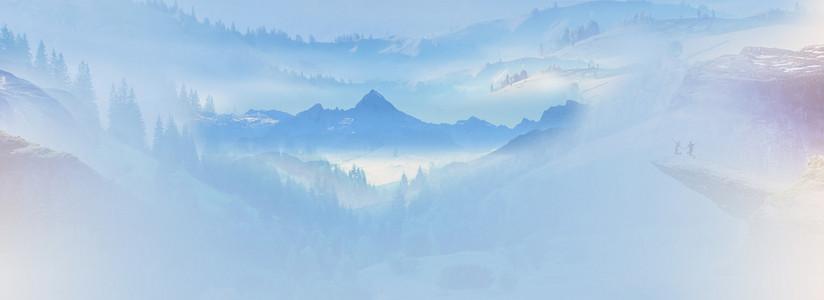 中国风山水画海报banner背景
