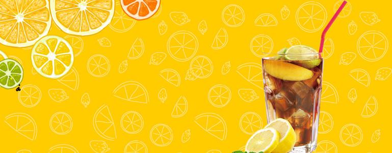 夏日可乐酷饮纹理卡通黄色背景