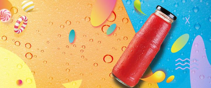 夏日饮料果汁促销海报背景
