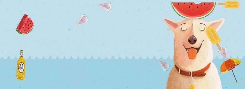 西瓜小清新卡通手绘蓝色背景