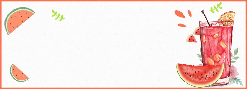 淘宝夏季促销清凉西瓜饮品卡通海报背景