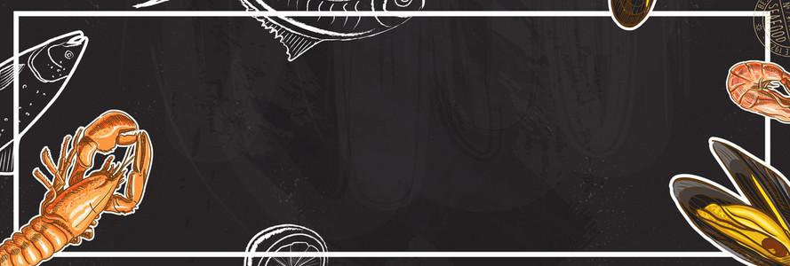 小龙虾大餐卡通几何黑色背景