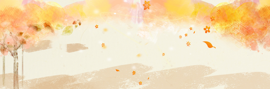 黄树叶飘落小清新黄色背景