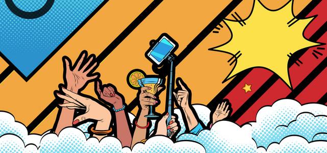 波普风卡通手绘宣传促销海报背景