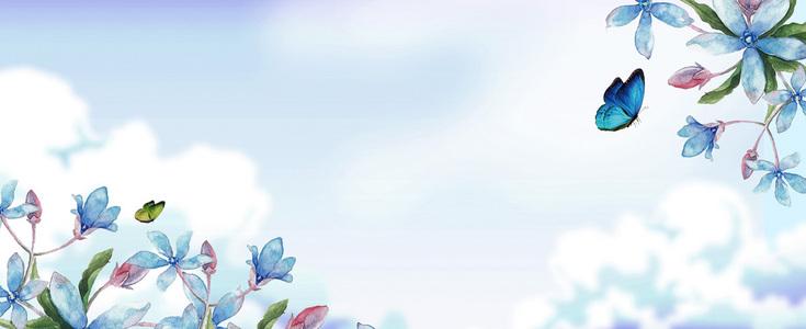 小清新文艺云层花卉背景