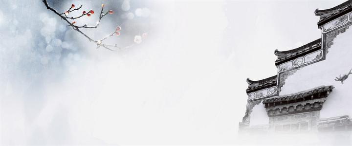 淡雅中国风建筑分层背景