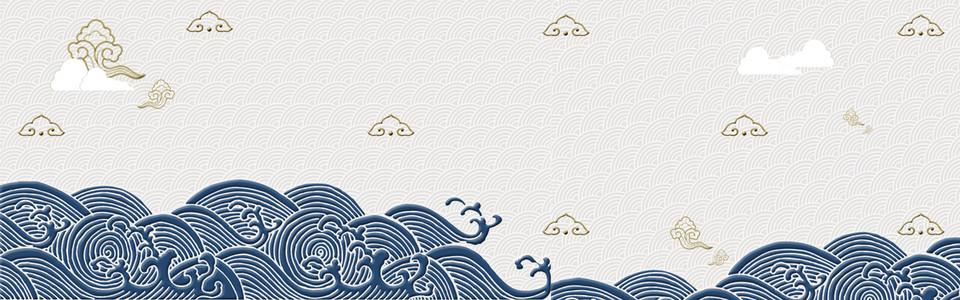 淘宝中国风质感纹理冷色海报banner