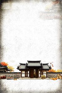 中国风庭院创意海报psd分层背景
