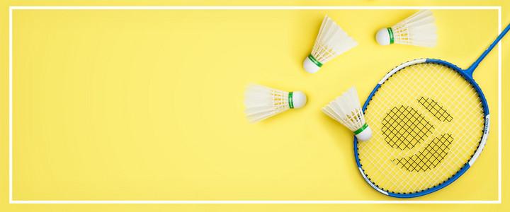 羽毛球简约黄色banner