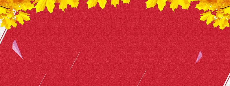 秋季黄树叶磨砂质感红色banner