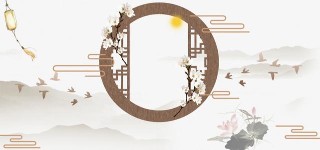 中国风花好月圆中秋banner