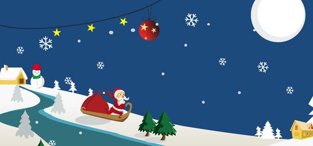 蓝色矢量卡通清新圣诞节banner 冬