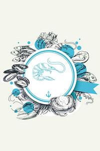 简约海鲜美食手绘插画