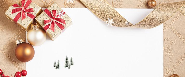圣诞快乐卡通礼物丝带金色banner
