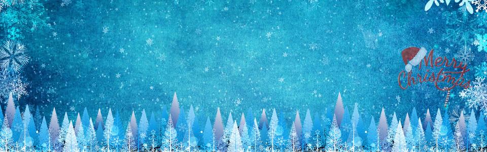 圣诞节蓝色清新梦幻平面banner