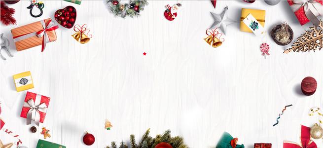 圣诞节简约卡通白色白雪banner