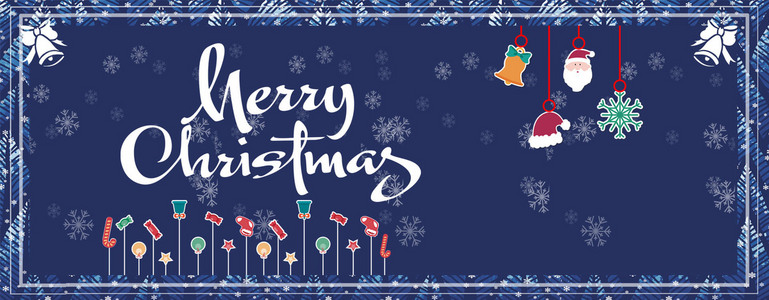 可爱蓝色圣诞节banner