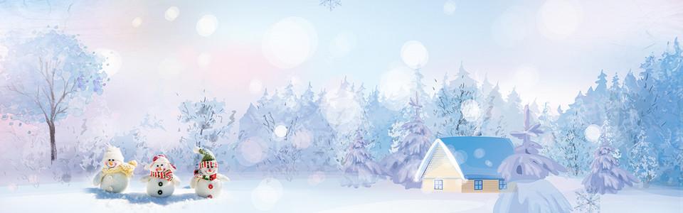 圣诞节雪人清新文艺banner背景