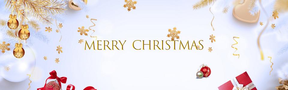 圣诞节清新蓝色平面banner