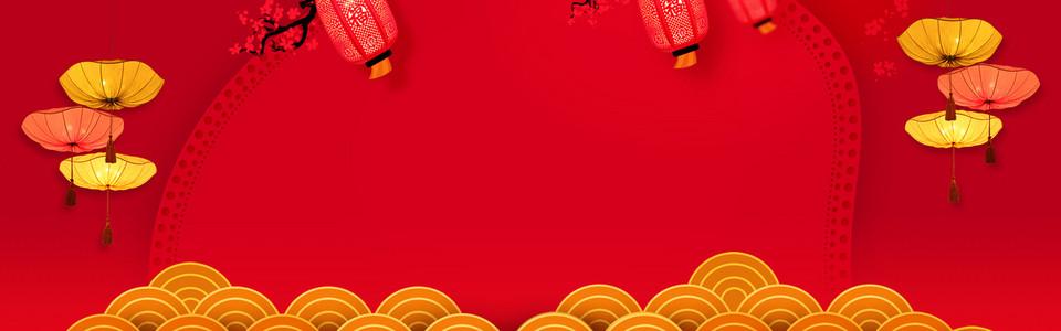 新年红色电商淘宝banner背景