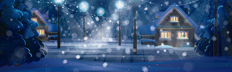 夜空平安夜圣诞banner海报