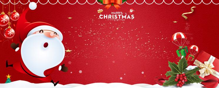 圣诞老人卡通简约红色banner
