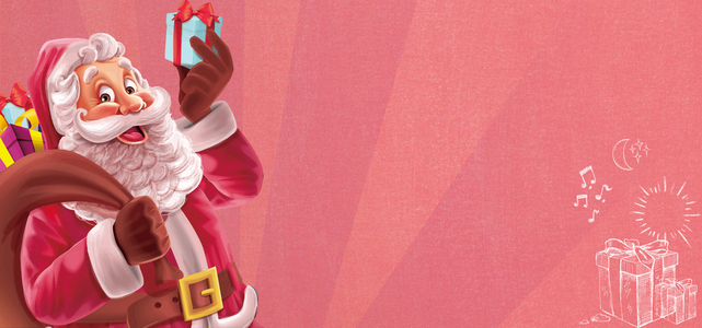 圣诞节粉色手绘圣诞老人banner