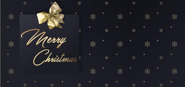 圣诞节收礼物黑色纹理雪花banner