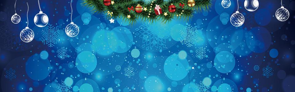 圣诞蓝色雪泡banner