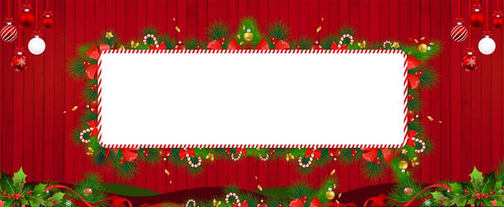圣诞节文艺花环几何红色banner