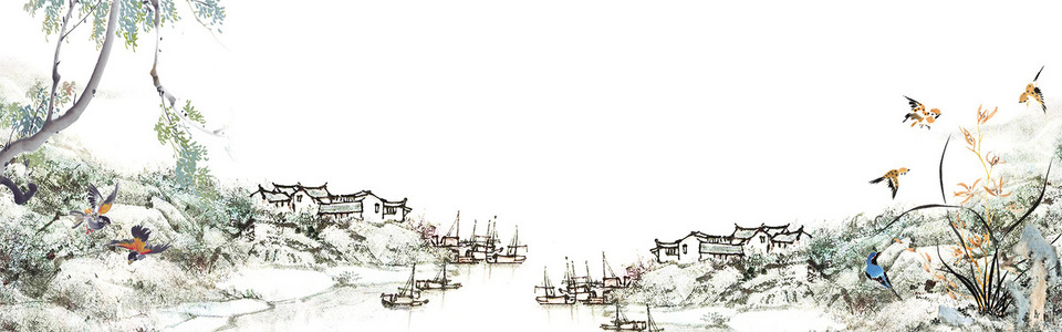 手绘中国风彩色banner背景