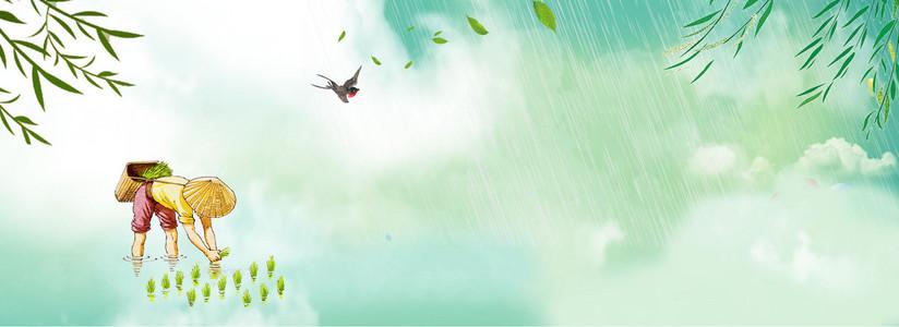 24节气谷雨插秧背景