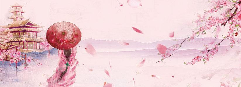 粉色唯美古风出游季桃花古典美女背景