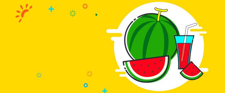 共享西瓜汁黄色卡通banner
