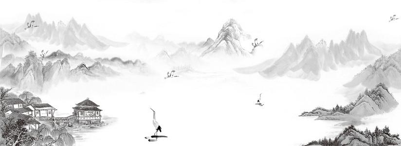 仙鹤翱翔山水海报背景