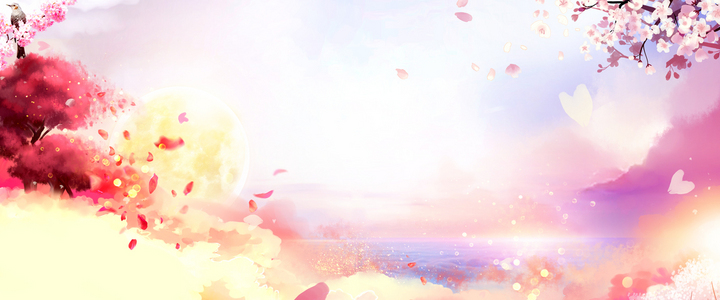 樱花盛开彩色手绘banner