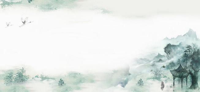 中国复古风山水手绘仙境仙鹤大气广告