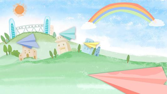 绿色卡通草地上纸飞机风景