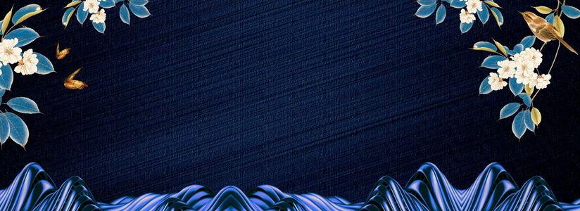 蓝色 唯美意境中国风创意背景
