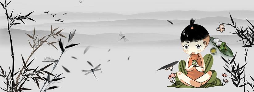 灰色中国风小孩荷包竹叶竹子背景